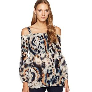 BCB Generation cold shoulder tie dyed print top